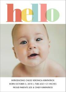Colorful Hello Girl Birth Announcement