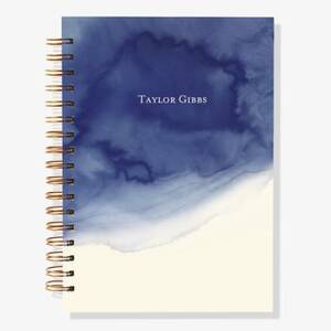 12-Month Navy Watercolor Custom Planner