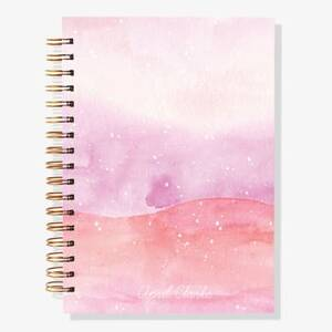 12-Month Pink Watercolor Custom Planner