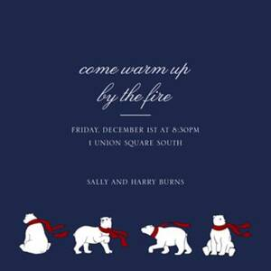 Four Bears with Scarves Holiday Party Invitation