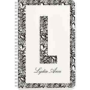 White Floral Monogram Custom Journal