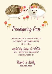 Hedgehogs Party Invitation