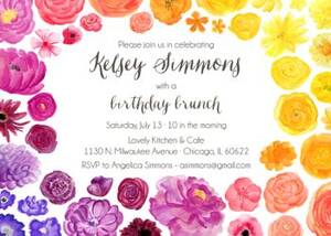 Rainbow Floral Birthday Party Invitation