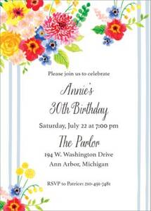 Floral Stripe Birthday Party Invitation