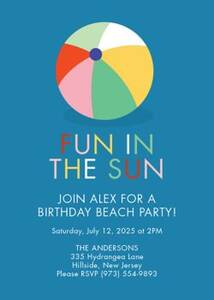 Fun in the Sun Birthday Party Invitation