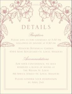 Blossom Border Letterpress Information Card