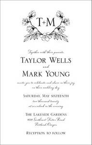 Tall Floral Crest Wedding Invitation