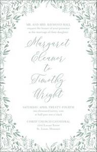 Tall Garden Wedding Invitation
