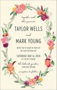 Tall Floral Wreath Wedding Invitation