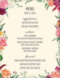 Floral Wreath Menu