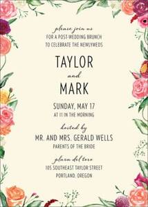 Floral Wreath Wedding Brunch Invitation